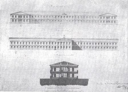 Фасады нового корпуса Рижского военно-сухопутного госпиталя, чертёж 1836.г.