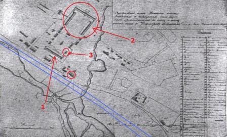 План рижского военного госпиталя (1836 г.). Синим выделена современная улица Дунтес, в красных кружках – сохранившиеся здания, под цифрой 1 – больничный корпус арх. Демерцова, 2 – главное здание госпиталя, 3-одно из флигелей
